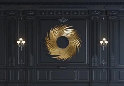 3D Фотообои «Золотой круговорот на стене»