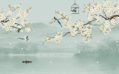 3D Фотообои «Лодка под цветущими ветвями»