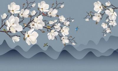 3D Фотообои «Яблоневые ветви над холмами»