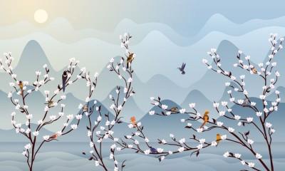 3D Фотообои «Птичья стайка на цветущих ветвях»