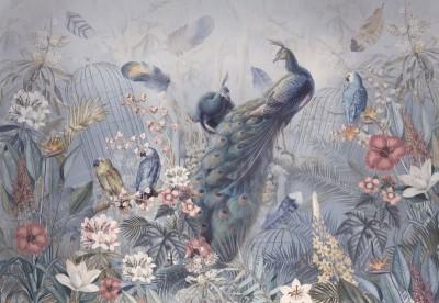 Фотообои «Сад с павлинами в нежных тонах»