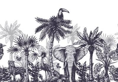 3D Фотообои «Эскизная композиция с тропиками»