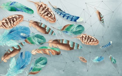 3D Фотообои «Перья в паутине из полигонов»