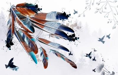 3D Фотообои «Птицы в перьях на фоне леса»