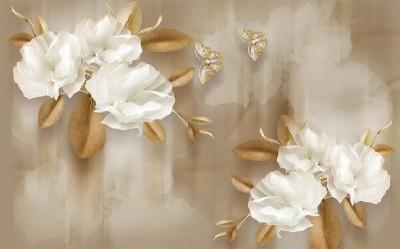 3D Фотообои  «Цветы с драгоценными бабочками»