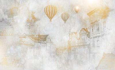 3D Фотообои  «Золотые шары над городом»