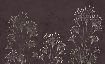 3D Фотообои «Цветущие травы на тисненом фоне»