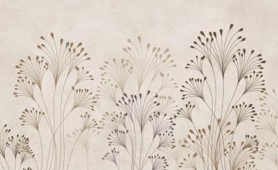 3D Фотообои «Цветущие травы на жемчужном фоне»
