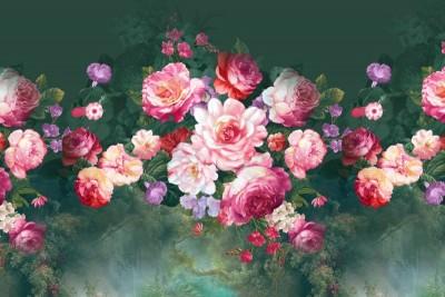 3D Фотообои «Розы в стиле барокко»