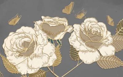 3D Фотообои «Розы в золотом тиснении»