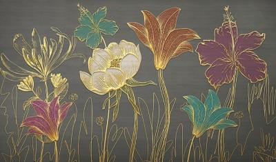 3D Фотообои «Цветы с золотым тиснением»