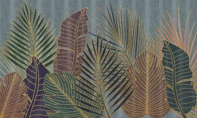 3D Фотообои «Тропическая композиция с золотом»