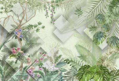 3D Фотообои  «Геометрия в тропиках»