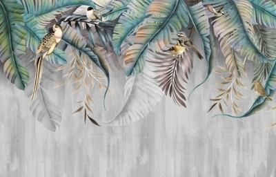 3D Фотообои «Птицы в листьях папоротника»