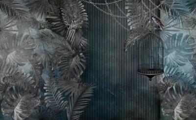 3D Фотообои «Стильная тропическая композиция»