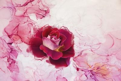 3D Фотообои «Бархатная роза на мраморе»