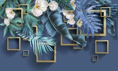 3D Фотообои «Дикие орхидеи с золотыми квадратами»