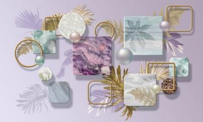3D Фотообои «Золотые листья с мрамором и жемчужинами»