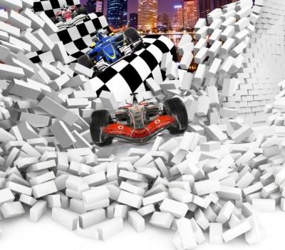 3D Фотообои «Формула-1 сквозь стену»