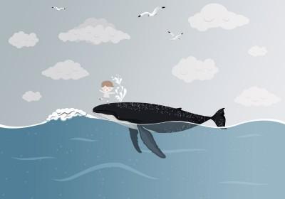 3D Фотообои «Мальчик и кит»
