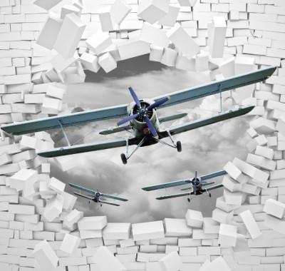 3D Фотообои «Самолеты сквозь стену»