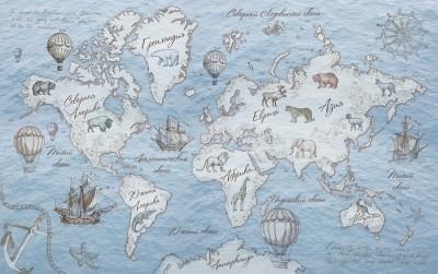 Фотообои «Эскизная карта мира в холодных тонах»
