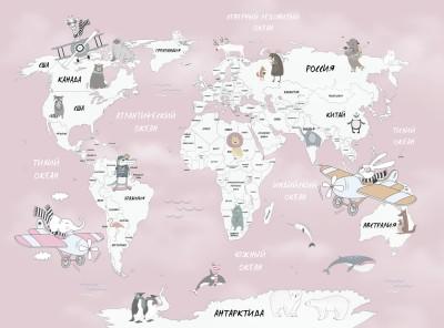 Фотообои «Весёлая карта мира в розовых тонах»