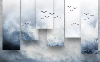 3D Фотообои «Птицы в тумане»