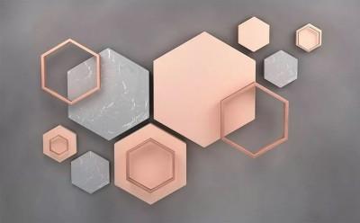 """3D Фотообои  """"Коралловые шестиугольники"""""""