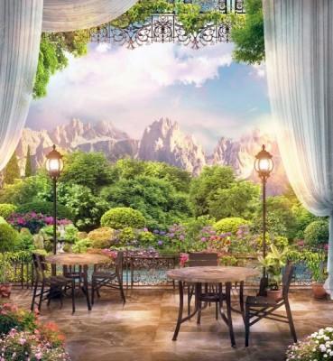 3D Фотообои «Ресторанчик в горах»