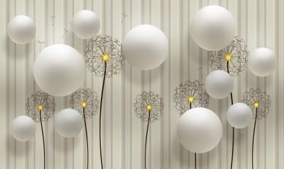 3D Фотообои «Одуванчики с шарами»