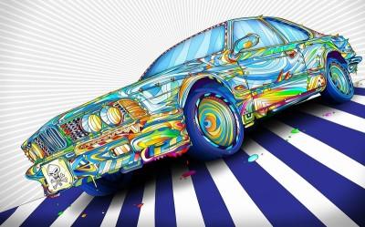 3D Фотообои «Красочный бумер»