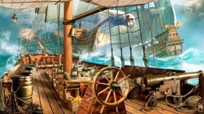 3D Фотообои «На борту пиратского корабля»