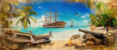 3D Фотообои «Пираты на побережье»