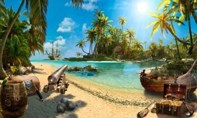 3D Фотообои «Остров с сокровищами»