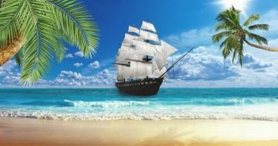 3D Фотообои  «Корабль у берега»