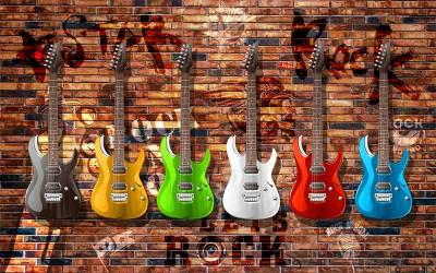 3D Фотообои «Лофт гитары»