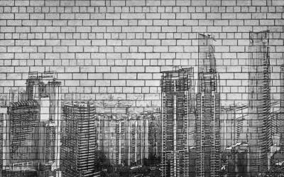 3D Фотообои «Мегаполис на кирпичах»