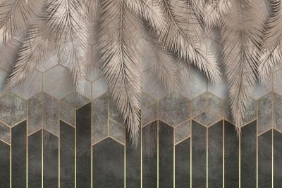 3D Фотообои «Шаль из листьев на геометрическом фоне»