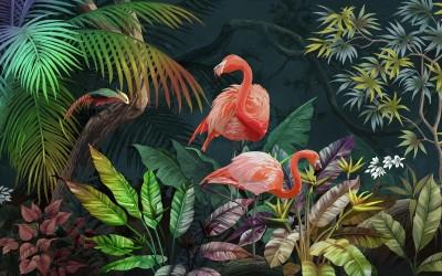 3D Фотообои «Фламинго в ярких листьях»