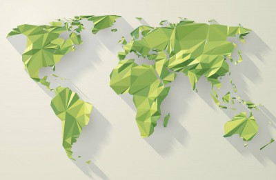 3D Фотообои «Зеленые континенты из полигонов»