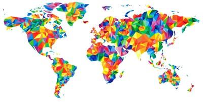 3D Фотообои «Полигональная карта мира»