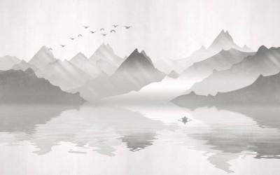 3D Фотообои «Туманное озеро»