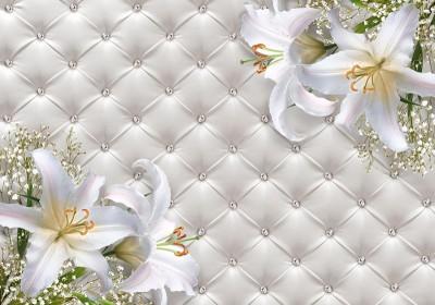 3D Фотообои «Белые лилии на роскошной коже»