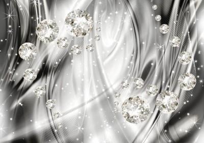 3D Фотообои «Бриллианты на серебристом фоне»