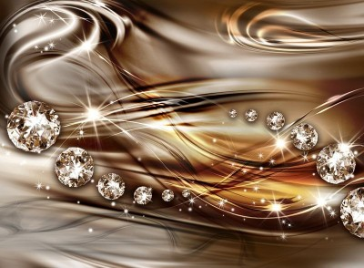 3D Фотообои  «Поток бриллиантов на медном шелке»