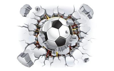 3D Фотообои «Мяч разламывает стену»