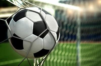 3D Фотообои «Футбольный мяч в сетке»