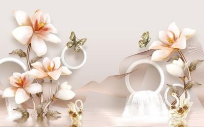 3D Фотообои «Объемные орхидеи с бабочками и лебедями»