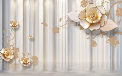 3D Фотообои «Объемные керамические цветы над водой»